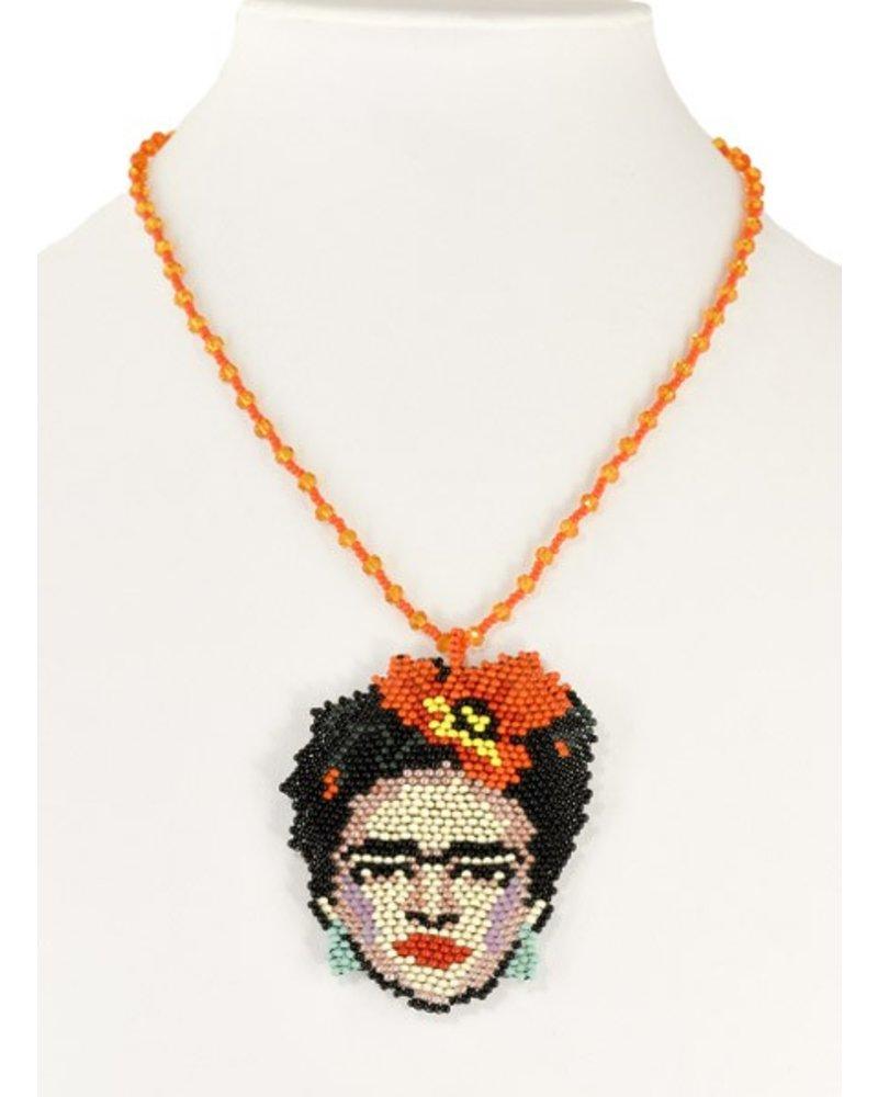 Handmade Frida Beaded Necklace In Orange