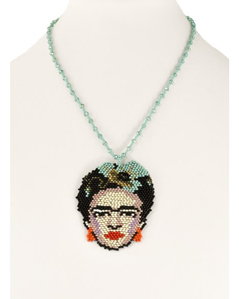Handmade Frida Beaded Necklace in Turquoise