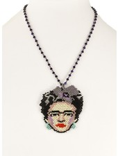 Handmade Frida Beaded Necklace In Purple