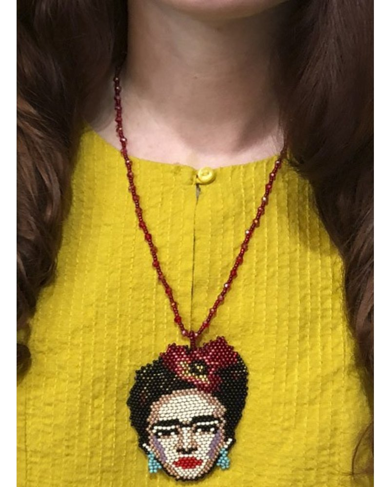Handmade Frida Beaded Necklace In Yellow