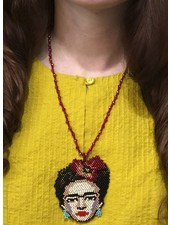 Handmade Frida Beaded Necklace In Red
