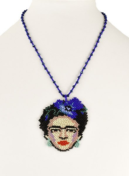 Handmade Frida Beaded Necklace In Blue