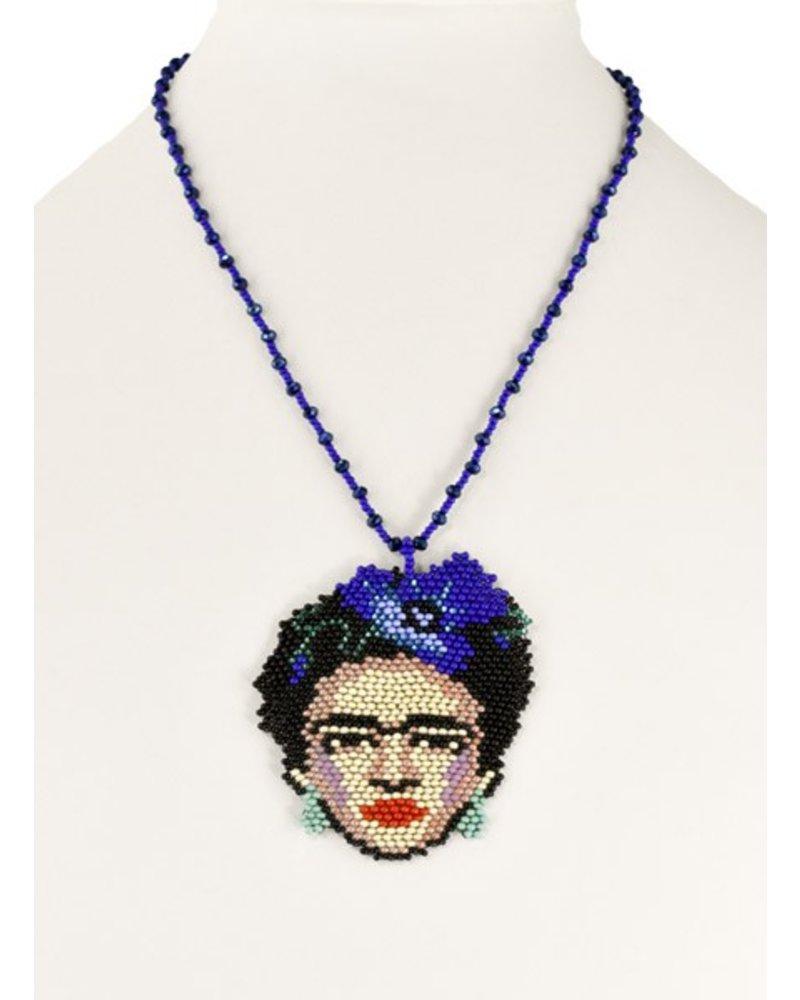 Handmade Frida Beaded Necklace In Blue