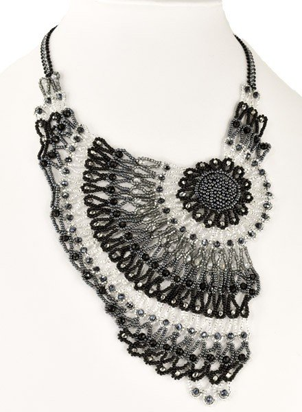 Handmade Beaded Moonlight Necklace In Black