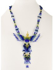 Handmade Beaded Hummingbird Necklace In Blue