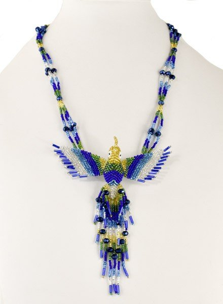 Handmade Beaded Hummingbird Necklace In Blue