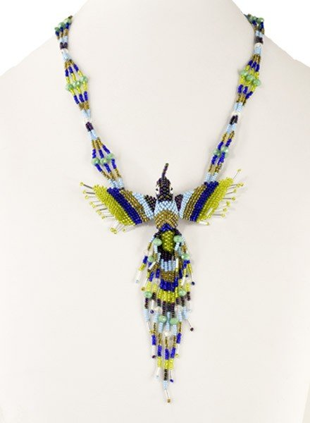Handmade Beaded Hummingbird Necklace In Lime