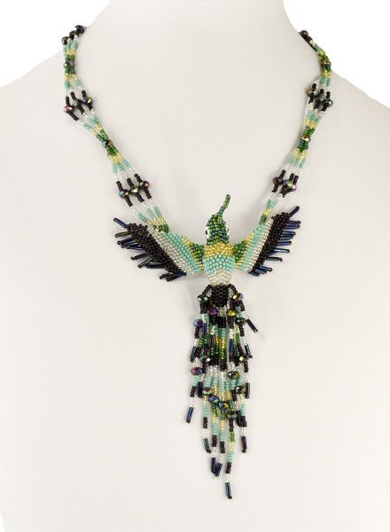 Handmade Beaded Hummingbird Necklace In Mint