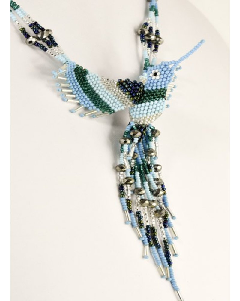 Handmade Beaded Hummingbird Necklace In Turquoise