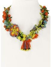 Handmade Beaded Tropicana Necklace In Orange