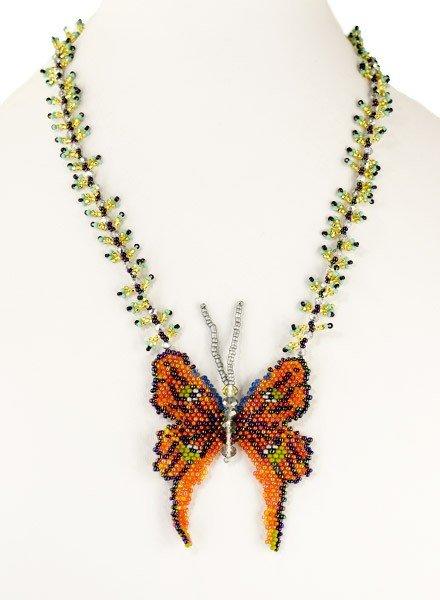 Handmade Beaded Butterfly Necklace In Orange