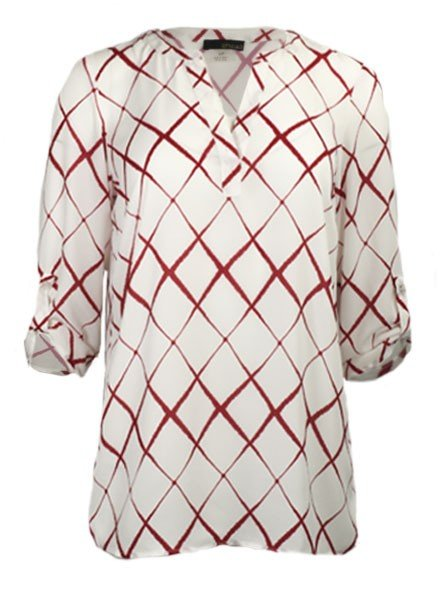 Renuar Renuar's Wavy Diamond Blouse In Crimson