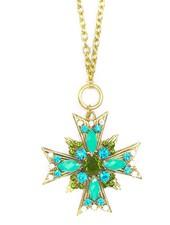 Crossed Starburst Pendant Necklace In Green