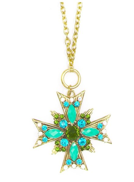 Crossed Starburst Pendant Necklace In Green