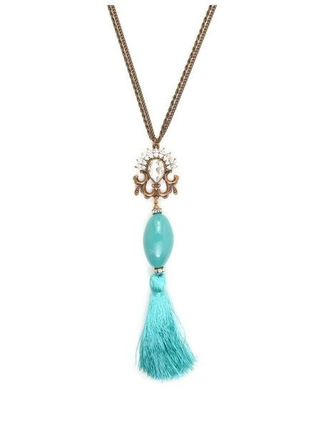It Takes Two To Tassel  Necklace In Turquoise