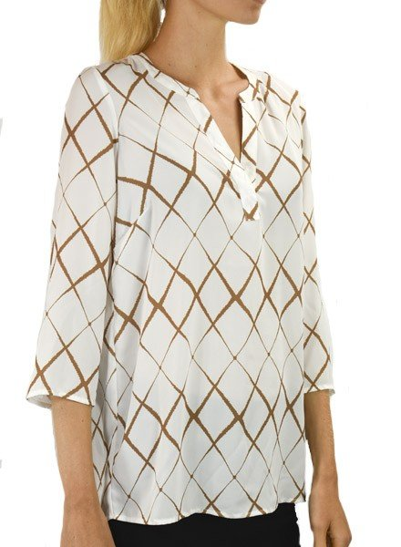 Renuar Renuar's Wavy Diamond Blouse In Cognac