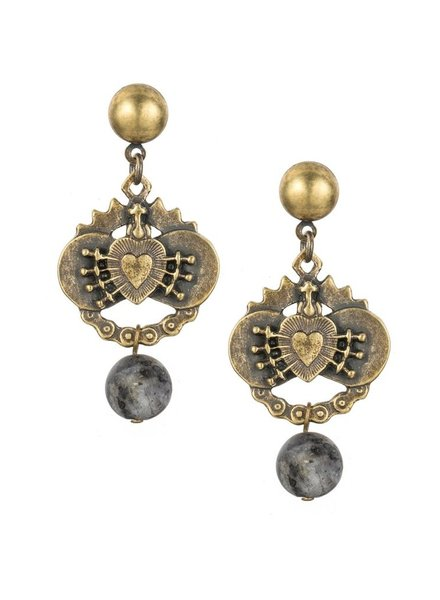 French Kande French Kande Brass Immaculate Heart Earrings With Labradorite Dangle