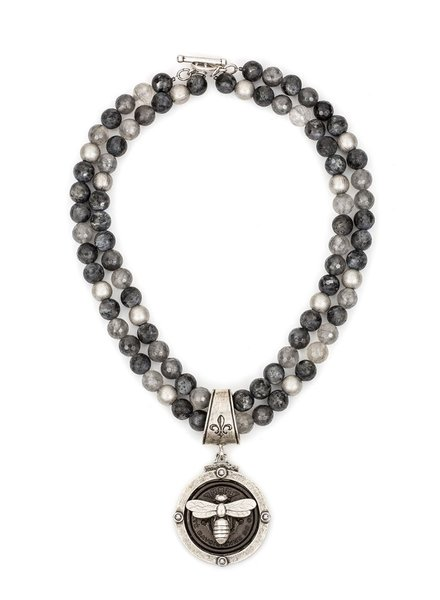 French Kande French Kande Centennial Black & Silver Meil Pendant On Mixed Slate Necklace