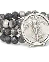 French Kande French Kande Triple Slate Mix Bracelet With L'Ange Medallion