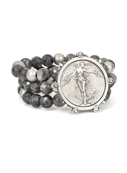 French Kande French Kande Triple Slate Mix Bracelet With L'Ange Medallion