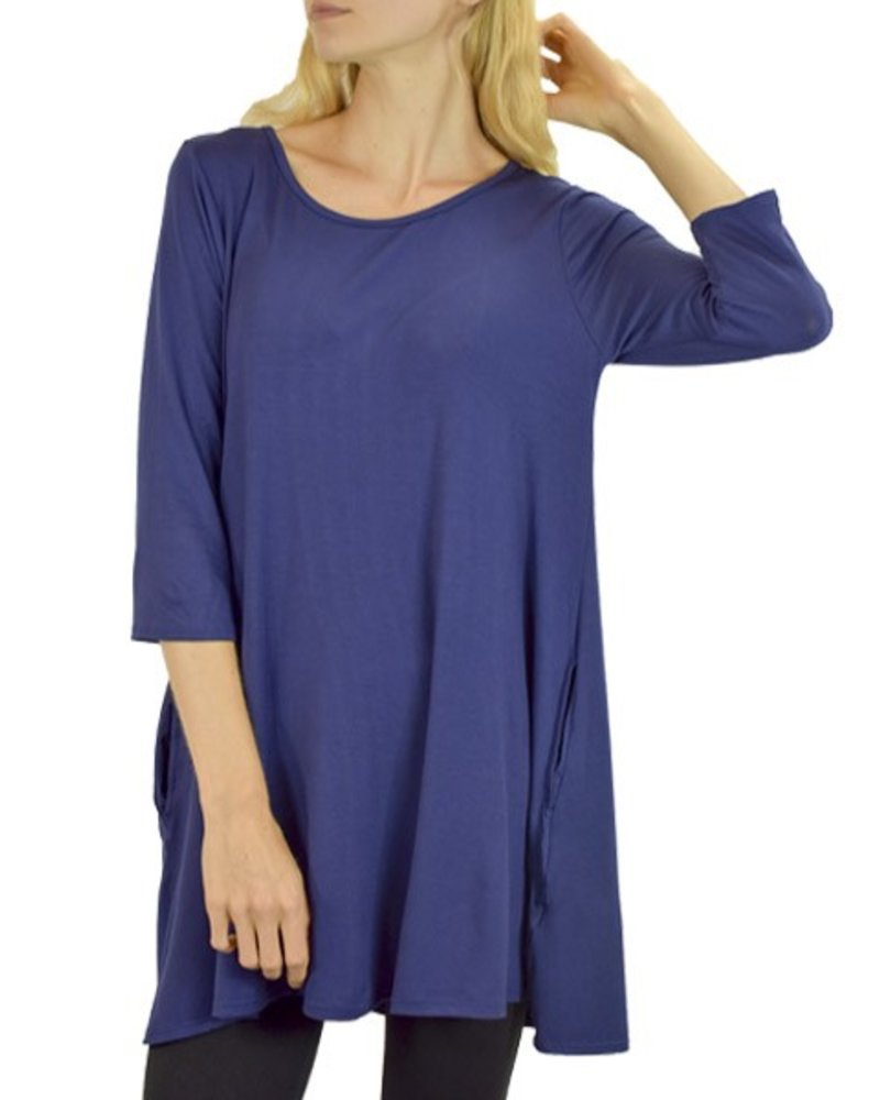 Throw-On Tunic/Dress In Navy