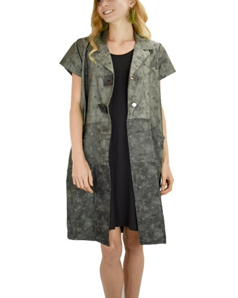 Comfy's Sun Kim Picasso Jacket In Olive Prints