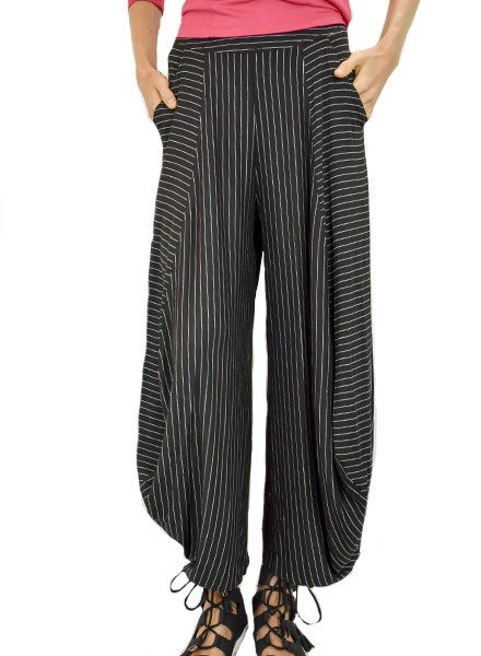 Comfy's Liz Pants In Black Pinstripe