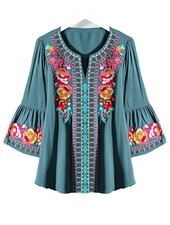 Florence Embroidered Top In Teal