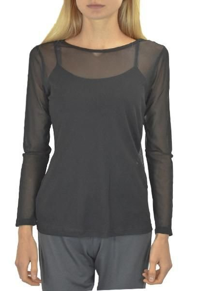 Comfy U.S.A. Comfy Sheer Long Sleeve Tee In Black