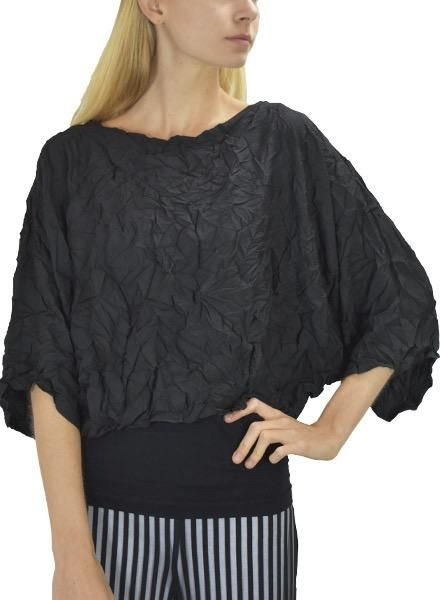Comfy's Santa Barbara Topper In Black Crepe De Chine