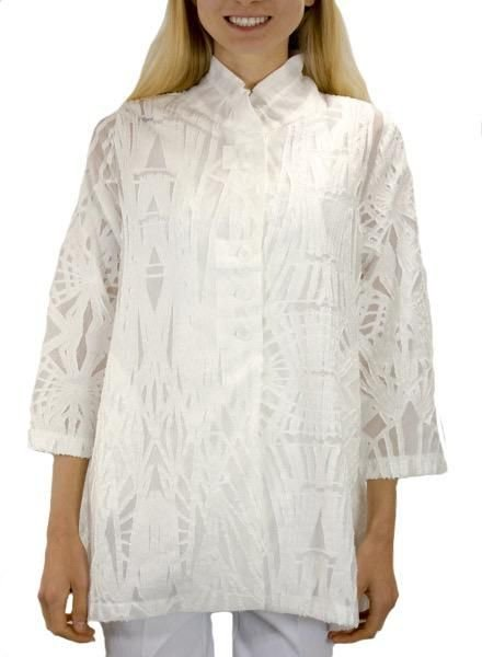 Terra's Burnout Swing Tunic Top In White