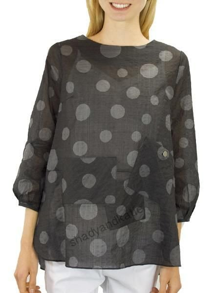 Terra's Crew Neck Dot Top In Black