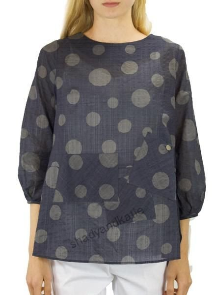 Terra's Crew Neck Dot Top In Midnight