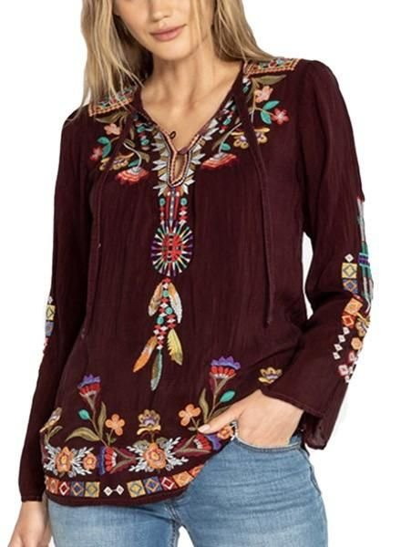 Johnny Was Johnny Was Free Spirit Blouse In Merlot