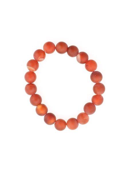 Carnelian Matte Stone Stretch Bracelet