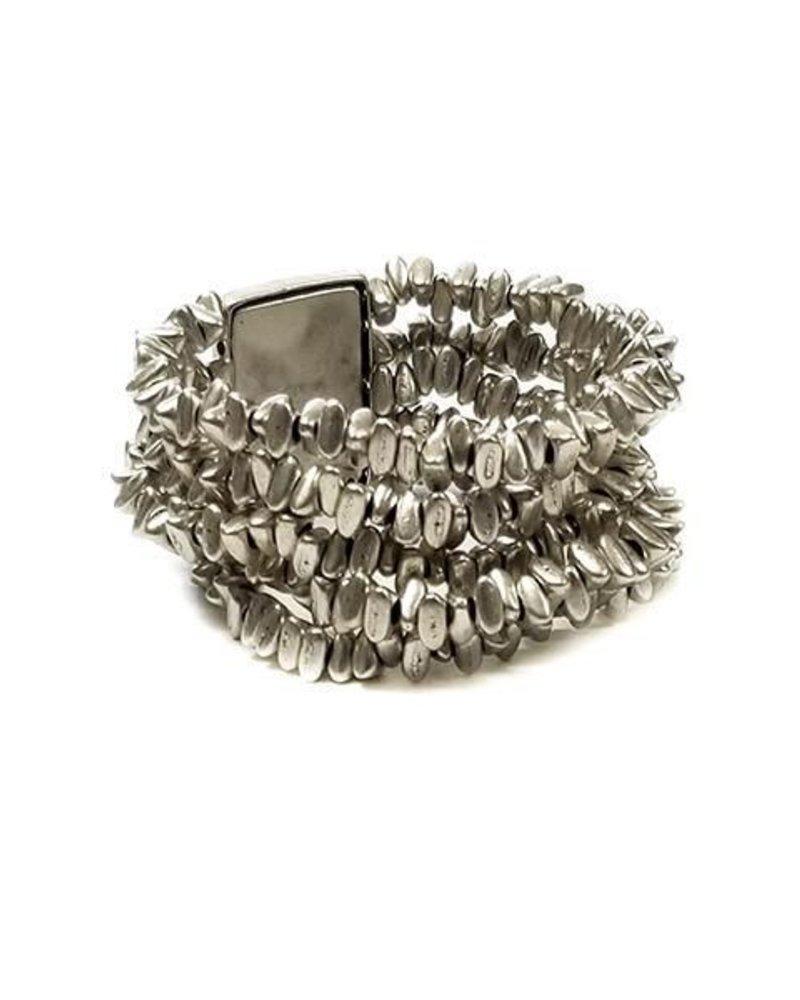 Chanour Triple Silver Nugget Bracelet