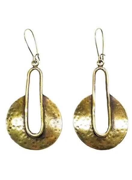 Dropped Shield Earrings In Bronze