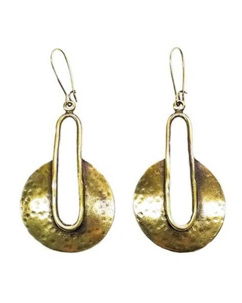 Chanour Dropped Shield Earrings In Bronze