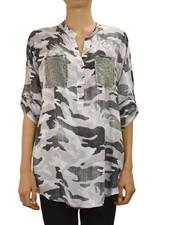Gigi Moda Camo Shirt With Sequin Pocket in Pink