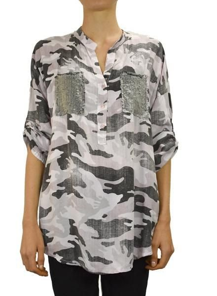 Camo Shirt With Sequin Pocket in Pink