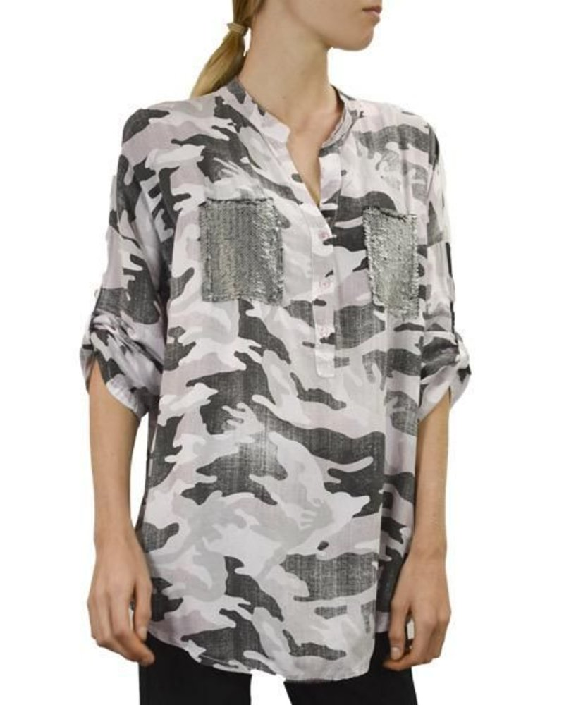 Gigi Moda Camo Shirt With Sequin Pocket in Pink