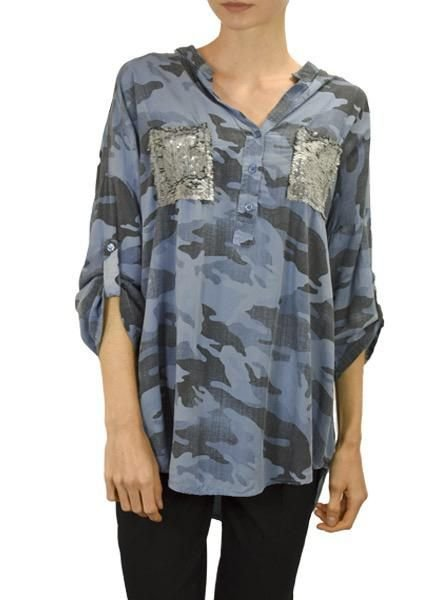 Gigi Moda Camo Shirt With Sequin Pocket in Blue