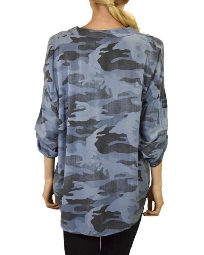 Gigi Moda Camo Shirt With Sequin Pocket in Blue