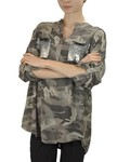 Camo Shirt With Sequin Pocket in Tan