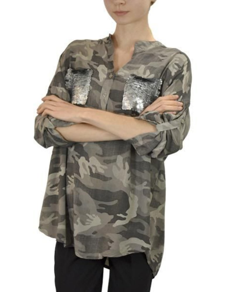 Gigi Moda Camo Shirt With Sequin Pocket in Tan