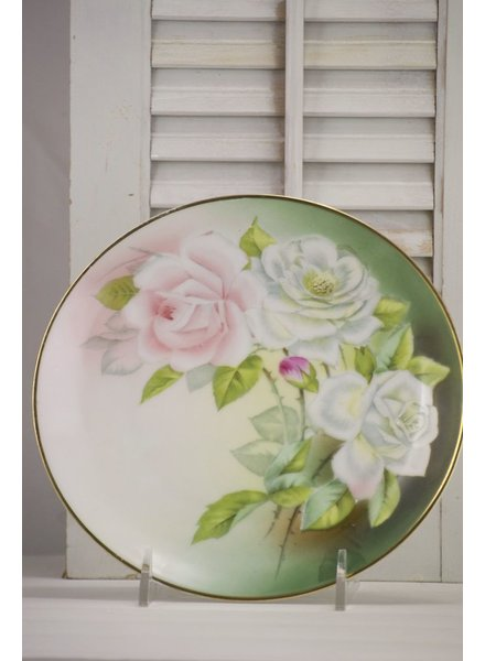 Hand Painted Bavarian Rose Plate