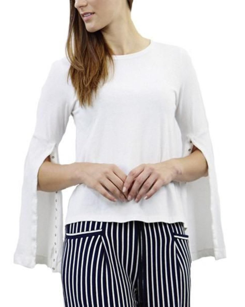 Coin Snap Button Split Sleeve Tee In White