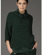 Griza's Crinkled Silk Top In Pine Green