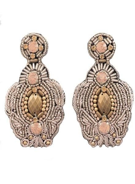 Beaded Throne Earrings in Rose Gold
