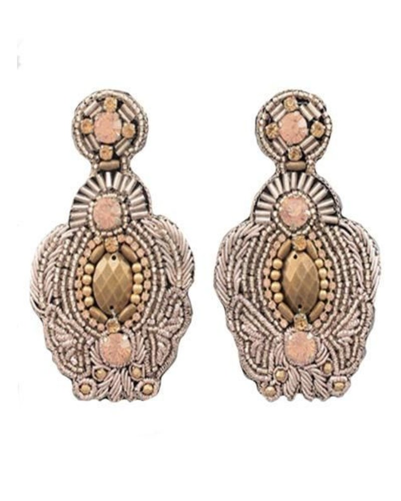 Beaded Throne Earrings in Rose Gold